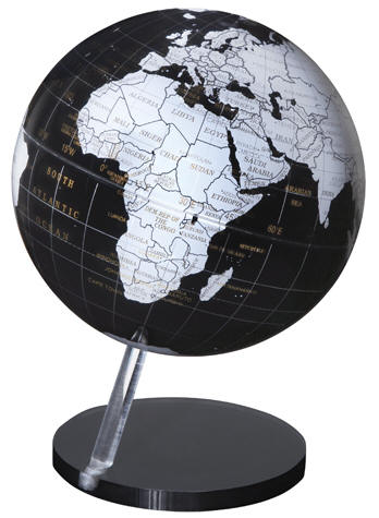 The 12 Inch Diameter Black Ocean Earthsphere Is Suspended On A Hand Cut And Polished Clear Rod Globe Appears To Be Floating Above Base