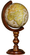 "6"" reproduction globe on wood base"