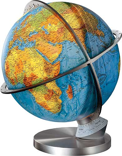 Marco polo illuminated desktop world globe steel base this illuminated desktop world globe features panorama cartography when illuminated the globe displays political cartography as seen at left gumiabroncs Images