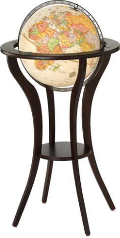 Gracefully Curved Solid Wood Stand Holds A 16 Diameter Globe Ilrating Cur Political Boundaries Mounted In Bronze Metal Meridian