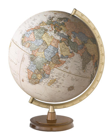 021113 newport desktop world globe by cram globes desktop world globe features raised relief 12 antique oceans updated map it is mounted in a champagne toned metal semi meridian on a routed edge gumiabroncs Image collections