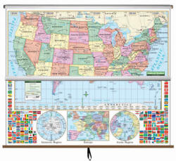 United States World Wall Map - Combo Map Set of 2 (Free Shipping)