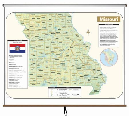 Missouri Wall Maps Free Shipping