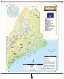 State Map Of Maine.Maine Wall Maps Free Shipping