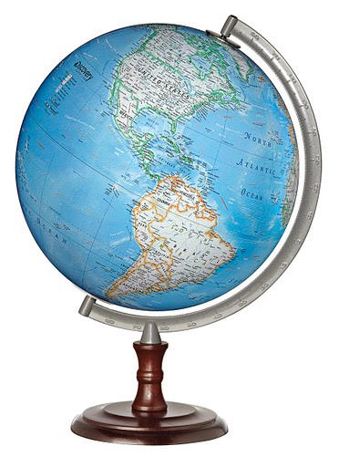Chester desktop world globe by discovery channel free shipping the gracious combination of blue ocean 12 diameter globe ball solid hardwood base with rich walnut finish and a numbered semi meridian make gumiabroncs Images