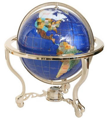Blue Lapis Gemstone World Globe On A Curved Stand With Comp