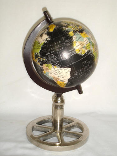 decorative desktop world globe features a 6 diameter sphere made of compressed paper with black ocean cartography mounted on an aluminum base with nickel - Decorative Globe