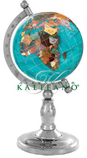 classic gemstone globe bahama blue silver stand free