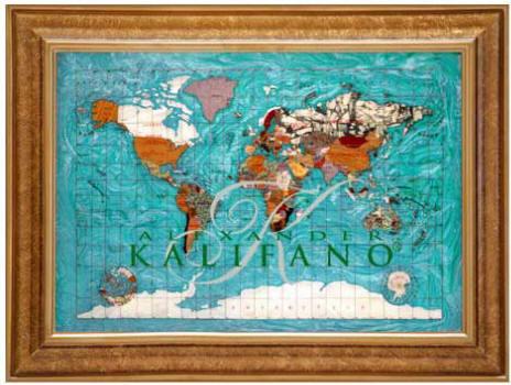 Gemstone World Map.Gemstone World Map Bahama Blue Ocean Free Shipping