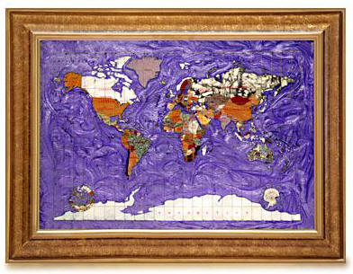 Gemstone World Map.Gemstone World Map Amethyst Ocean Free Shipping