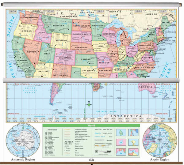 US World Essential Clroom Wall Map Set on Roller (Free Shipping) on free world globe map, free world map poster, free world map wallpaper, free world atlas map,