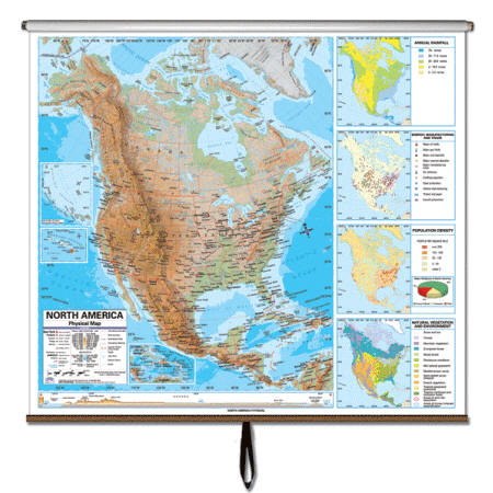 North America Wall Map Physical - North america map with physical features