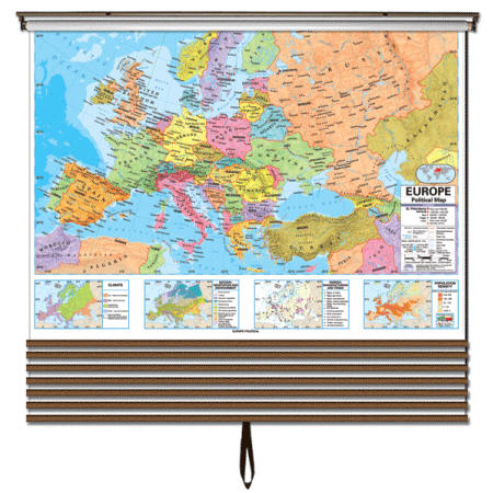 Classroom wall map set political boundaries