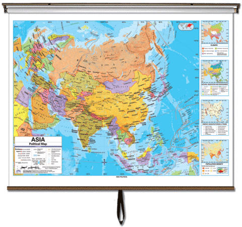 Wall map asia political asia political classroom wall map on roller item kp27929 gumiabroncs Image collections