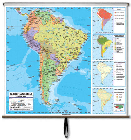Wall Map South America Physical