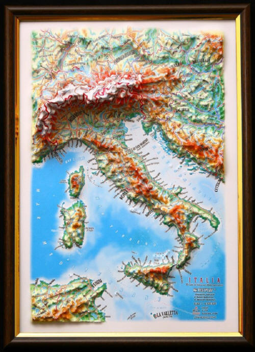 Free Map Of Italy.Italy 3d Framed Map Free Shipping
