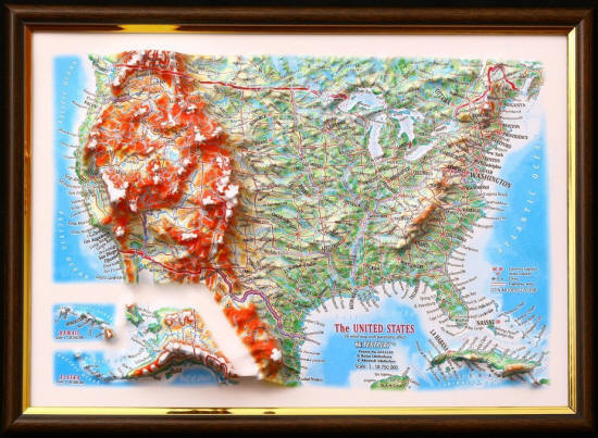 USA D Framed Map - Us raised relief map
