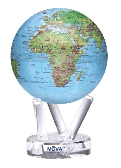 Mova Blue Green Relief Maping Motion World Globe 4.5 inch Gloss Finish.