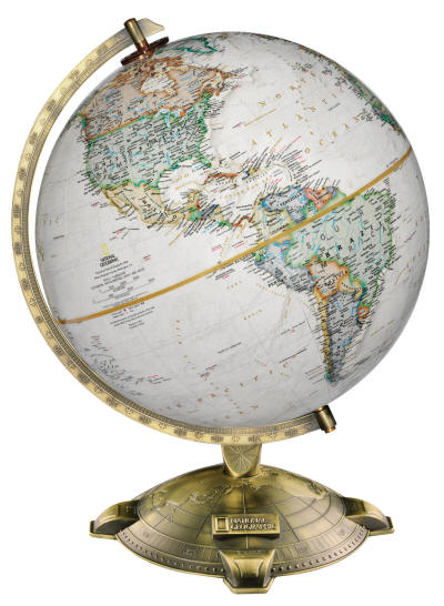 Allanson National Geographic world globe on metal desk base