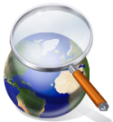 magnifying glass over world globe