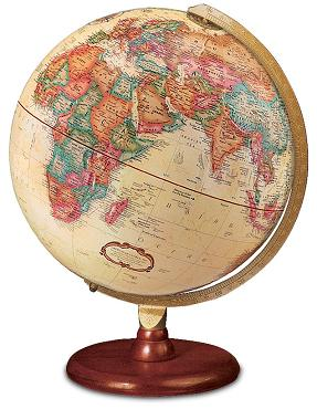 World globe on wood base