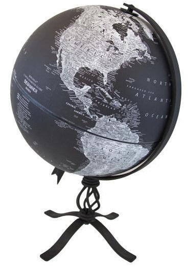Black World Globe On Metal Base