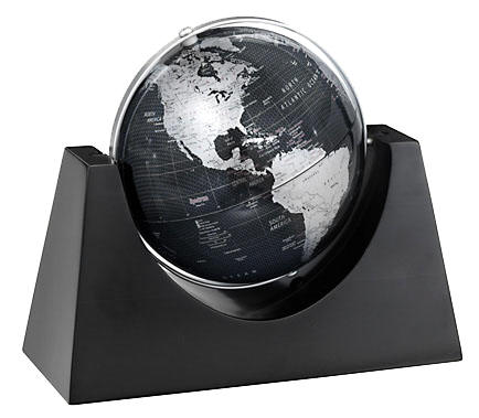 Small black desk globe