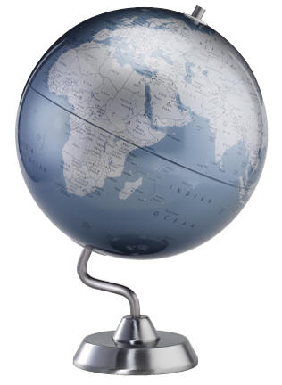 modern chrome world globe