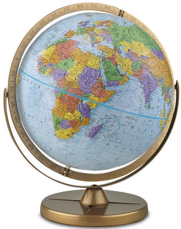Pioneer desktop world globe by replogle globes free shipping 12 political globe with gyro matic mounting swings up or down to bring any area into closer view map areas are in vivid colors to easily highlight gumiabroncs Choice Image