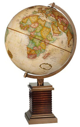 world globe on designer wood and metal desktop base