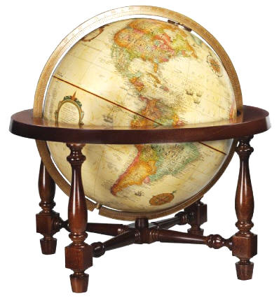 world globe mounted in four leg wood base