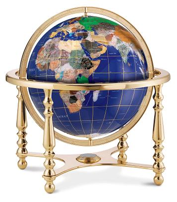 gemstone desk globe on glod base