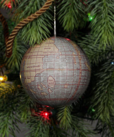 reproduction world globe christmas ornament