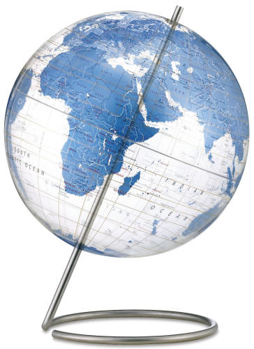 desk world globe with transparent oceans blue land mass
