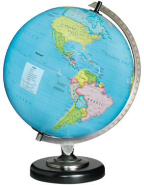illuminated world globe blue oceans metal desktop base