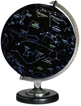 star constellations globe on desktop metal base
