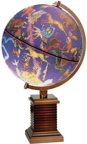 Illuminated desktop globe showing star constellations images on wood/metal stand