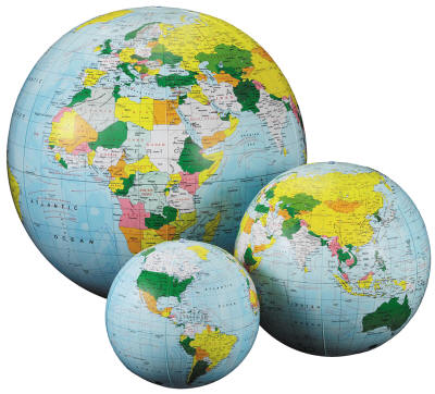 inflatable world globes in three different sizes