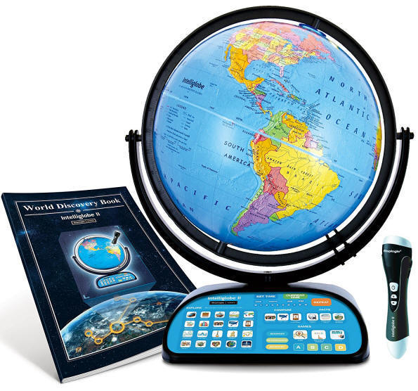 Interactive educational world globe for children with manual and pen