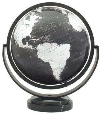 Monarch geographical world globe black oceans marble stand