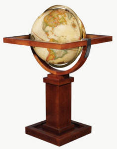 globe on designer wood stand