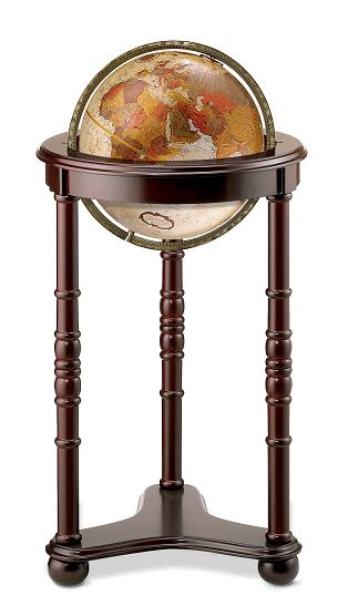 classic in design this traditional chair side floor world globe is complemented by the dark cherry finish and decorative carved accents - Decorative Globe