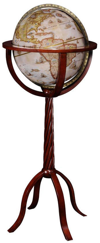 reproduction world globe on wooden floor stand