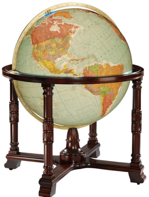 Large illuminated floor standing world globe with blue oceans