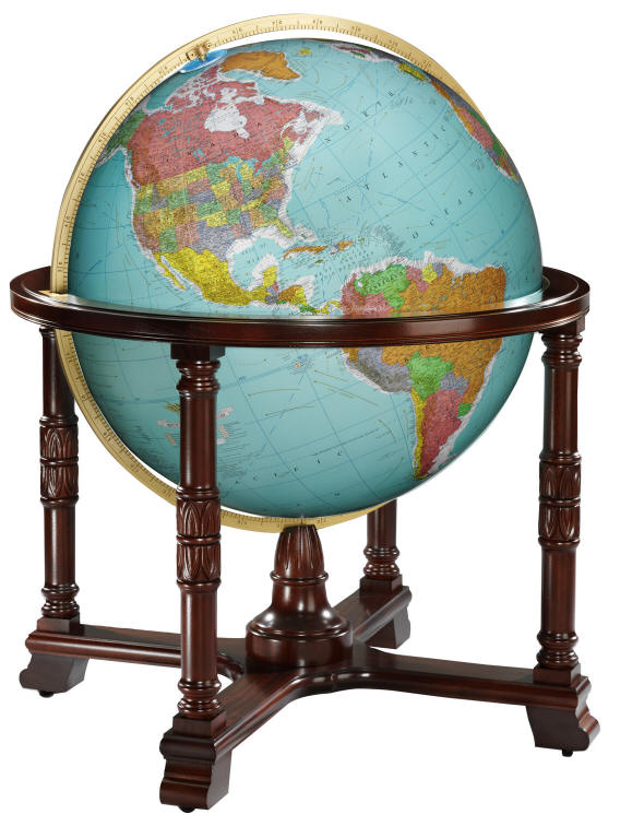 Large illuminated world globe on wood floor stand