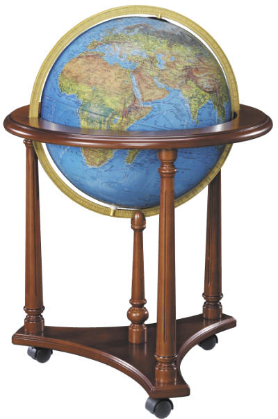 Illuminated floor standing globe wood base