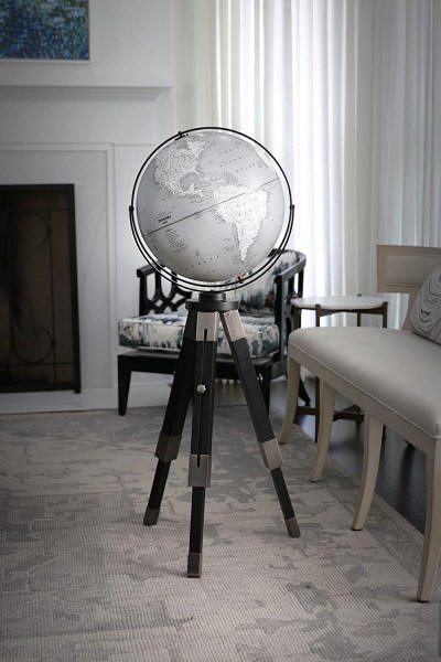 Willston contemporary floor stand globe in an elegant room setting