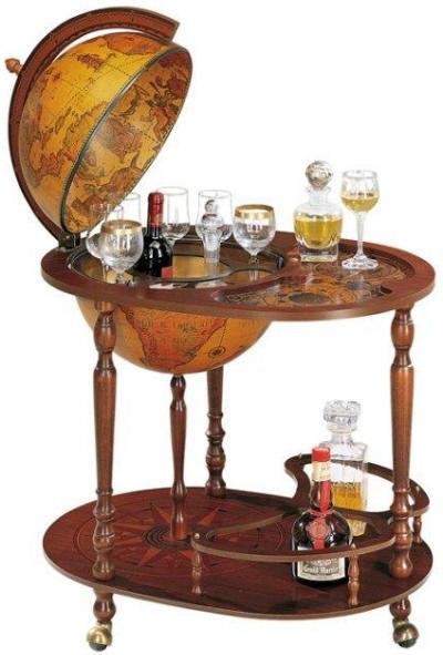 Portable 16 trolley bar globe by zoffoli free shipping for 16 inch floor old world bar globe cart
